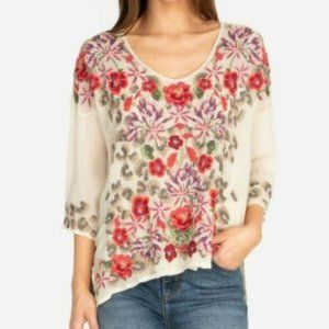NWT XL Johnny Was Leopard Rose Blouse $275